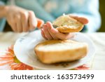 simple breakfast with bread and ... | Shutterstock . vector #163573499