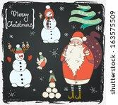 funny cartoon santa  snowmen... | Shutterstock .eps vector #163575509