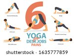infographic of 6 yoga poses for ... | Shutterstock .eps vector #1635777859