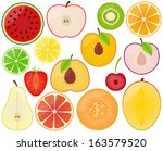 vector collection of fruit... | Shutterstock .eps vector #163579520