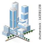 buildings in blue tones on... | Shutterstock . vector #163581158