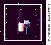 wine bottle and cup inside... | Shutterstock .eps vector #1635859546