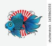 goldfish japanese tattoo ... | Shutterstock .eps vector #1635863353