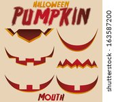 vector halloween set of cartoon ... | Shutterstock .eps vector #163587200