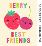 cute strawberry and cherry... | Shutterstock .eps vector #1635873370