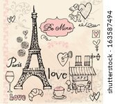 love in paris background  | Shutterstock .eps vector #163587494