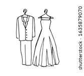 drawing of wedding clothes  a... | Shutterstock .eps vector #1635879070