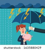 business woman protecting their ... | Shutterstock .eps vector #1635880429
