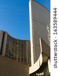 Stock photo toronto november beautiful toronto city hall against blue sky background nov in 163589444