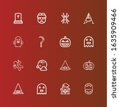 editable 16 spooky icons for... | Shutterstock .eps vector #1635909466