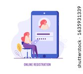 woman registering online using...