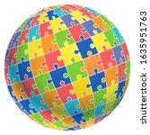 jigsaw puzzle ball template... | Shutterstock .eps vector #1635951763