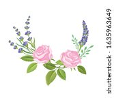 rose bud and lavender twigs... | Shutterstock .eps vector #1635963649