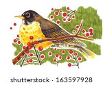 illustration of bird with red... | Shutterstock . vector #163597928