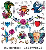 hand drawn traditional tattoos. ... | Shutterstock .eps vector #1635998623