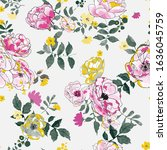 seamless pattern with spring... | Shutterstock .eps vector #1636045759