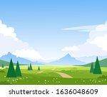 beautiful summer mountain... | Shutterstock .eps vector #1636048609