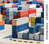 container yard | Shutterstock . vector #163605284