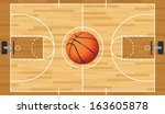 A realistic vector hardwood textured basketball court with basketball in the center court. EPS 10. File contains transparencies.  - stock vector
