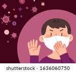 man wearing a mask to prevent... | Shutterstock .eps vector #1636060750
