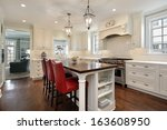 kitchen in luxury home with... | Shutterstock . vector #163608950
