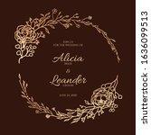 beautiful golden leaf floral...   Shutterstock .eps vector #1636099513