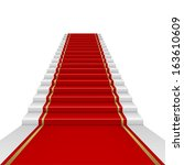 red carpet with ladder.... | Shutterstock .eps vector #163610609