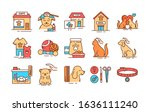 pet care color line icons set....