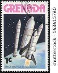 Small photo of GRENADA - CIRCA 1978: A stamp printed in Grenada shows Space Shuttle - booster jettison, circa 1978