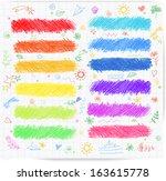 Set Of Colored Doodle Sketch...