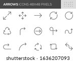 arrows vector line icons set....