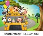 illustration of a bus full of... | Shutterstock .eps vector #163624583