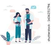 pediatrician doctor talking to... | Shutterstock .eps vector #1636251796
