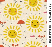 abstract cartoon nursery... | Shutterstock .eps vector #1636255816