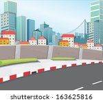 illustration of a city with... | Shutterstock .eps vector #163625816