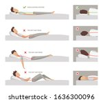 correct and incorrect sleeping... | Shutterstock .eps vector #1636300096