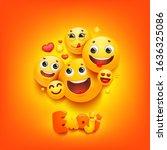 emoji cartoon group smile... | Shutterstock .eps vector #1636325086