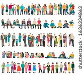 silhouette people and children  ...   Shutterstock .eps vector #1636334863