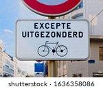 Small photo of Closeup Signboard information bike in Bruxelles Belgium (excepte uitgezonderd = except excepted)