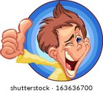 boy out of the blue circle... | Shutterstock .eps vector #163636700
