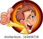 boy out of the brown circle... | Shutterstock .eps vector #163636718