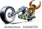 biker in a helmet with bull long horns,vector illustration on white background