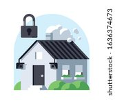 private house security vector... | Shutterstock .eps vector #1636374673