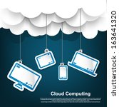 Cloud computing - Cloud computing concept, eps10, 3 layers ( background,clouds & icons ,text )