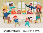 a large family gathered at a... | Shutterstock .eps vector #1636446496