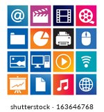 multimedia and computer icons... | Shutterstock .eps vector #163646768