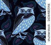 owl illustration in tribal... | Shutterstock .eps vector #1636480546
