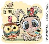 cute cartoon tribal rabbit and... | Shutterstock .eps vector #1636487533