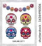 classic sugar skulls collection ... | Shutterstock .eps vector #1636498306