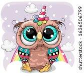 Cute Cartoon Owl With The Horn...